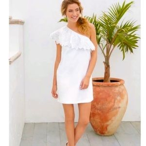 Rio Farm White Eyelet One Shoulder Mini Dress Sz M